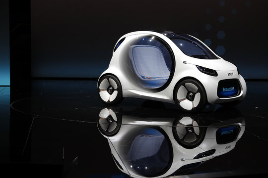New Smart concept autonomous car Vision EQ fortwo model is presented during the Frankfurt Motor Show (IAA) in Frankfurt
