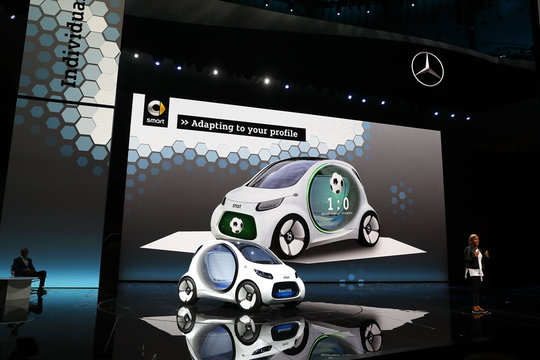 Seeger, a board member of Daimler AG presents the new Smart concept autonomous car Vision EQ fortwo model during the Frankfurt Motor Show (IAA) in Frankfurt