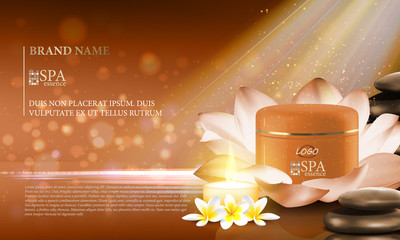 Excellent cosmetic ads, facial cream. For announcement sale or promotion new product. Brown cream bottles on soft background with glitter particles and flowers. Vector illustration.