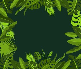 frame with tropical jungle leaves