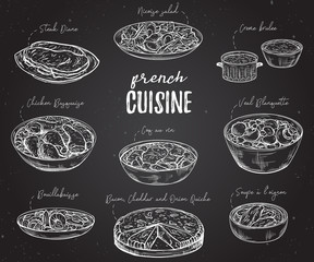 French cuisine. Collection of delicious food on chalkboard. Isolated elements. Concept design for decoration restaurants, menu. Vintage hand drawn vector illustration