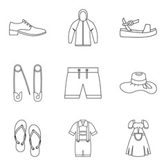 Summer clothes icon set, outline style