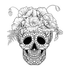 Sugar skull with decorative pattern and a wreath of red poppies. Stock line vector illustration.  Outline hand drawing coloring page for adult coloring book.