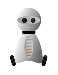 Mały smutny robot na kółkach