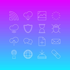 Vector Illustration Of 16 Network Icons. Editable Pack Of Photo, Wave, Information Load And Other Elements.