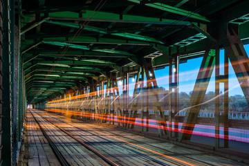 Moving tram on the Gdanski bridge in Warsaw, Poland