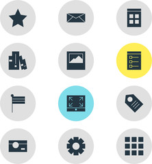 Vector Illustration Of 12 Online Icons. Editable Pack Of Bookshelf, Map Marker, Bookmark And Other Elements.