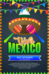 Viva Mexico, traditional mexican holiday, Happy Independence day illustration with hat and maracas. vector illustration