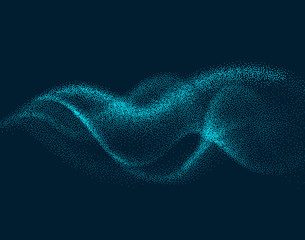 Digital flow wave with particles in motion. Abstract smoke effect background