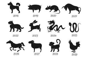 Chinese horoscope zodiac animals. Vector symbols of year
