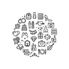 Wedding party fun outline vector icons