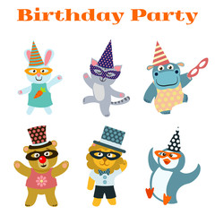 Cute dancing animals on birthday masquerade party