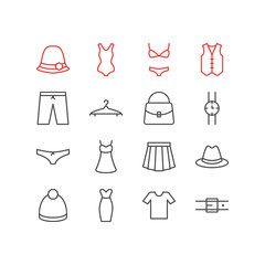 Vector Illustration Of 16 Clothes Icons. Editable Pack Of Swimwear, Swimsuit, Cloakroom And Other Elements.