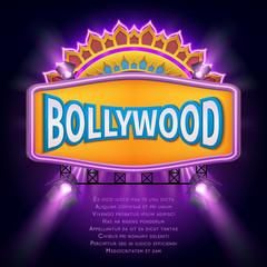 Indian bollywood cinema vector sign board