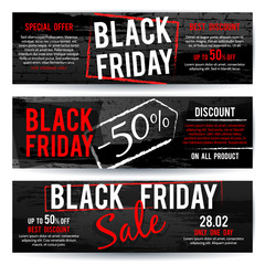Black Friday sale horizontal advertising vector banners with black and red distressed brush texture