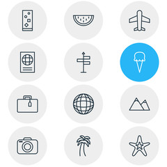 Vector Illustration Of 12 Summer Icons. Editable Pack Of Hill, Sorbet, Fish And Other Elements.
