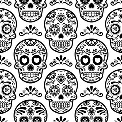 Mexican sugar skull vector seamless pattern, Halloween candy skulls background, Day of the Dead celebration, Calavera design
