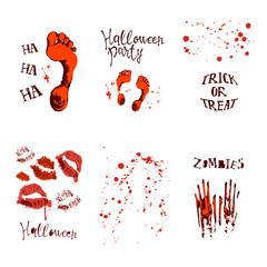 set of designs with halloween symbols