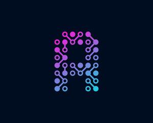 Circuit Digital Technology Letter A Icon Logo Design Element