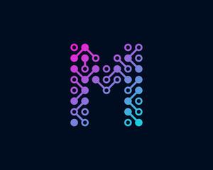 Circuit Digital Technology Letter M Icon Logo Design Element