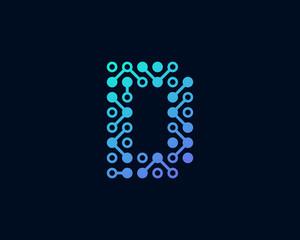 Circuit Digital Technology Letter D Icon Logo Design Element