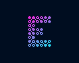 Circuit Digital Technology Letter E Icon Logo Design Element