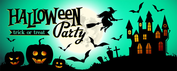 Halloween night background with pumpkin, house and full moon. Banner or invitation template for Halloween party. Vector illustration.
