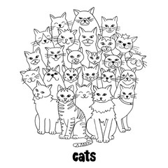Group of hand drawn cats, standing in a circle, black and white