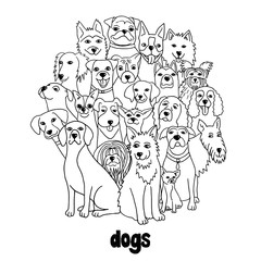 Group of hand drawn dogs, standing in a circle, black and white