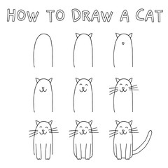 Drawing tutorial for children: How to draw a cat step by step