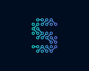Technology Digital Circuit Letter S Icon Logo Design Element