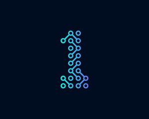 Technology Digital Circuit Number 1 Icon Logo Design Element