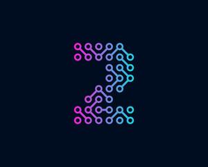 Technology Digital Circuit Number 2 Icon Logo Design Element
