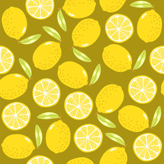 fruit lemon seamless pattern perfect for wrap paper, wallpaper, background, food product, packaging, textile or fabric