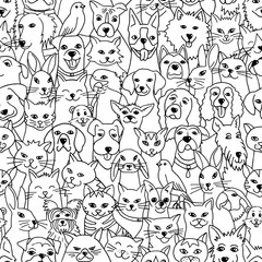 Hand drawn seamless pattern with cute pets: dogs, cats, birds, bunnies, hamster