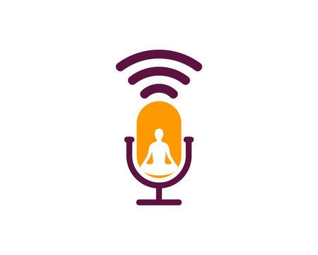 Podcast Yoga Icon Logo Design Element