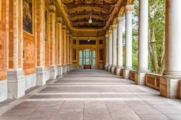 Germany, Baden-Baden, August 19, 2017: Architecture with columns in Baden-Baden, Germany