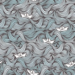 Hand drawn seamless pattern with waves and cute little paper boats