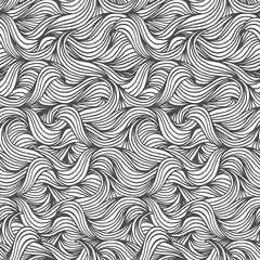 Hand drawn seamless wave pattern in black and white