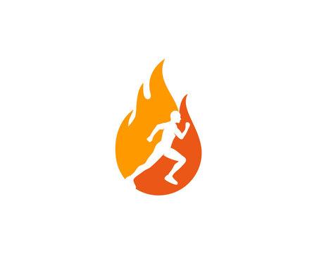 Fire Run Icon Logo Design Element