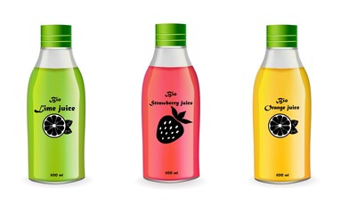 Juice bottles set Vector realistic isolated on white. Product package design label fruit
