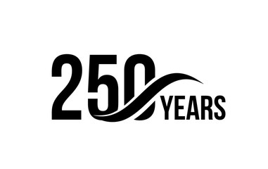 Vector isolated anniversary date logo template for business company birthday icon design element. Two hundred and fifty abstract sign. Happy jubilee, 250 years. 250th year.