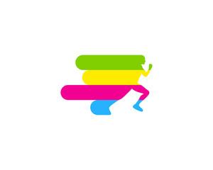 Paint Run Icon Logo Design Element