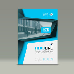 Cover design, corporate brochure template, magazine and flyer layout. Annual report. Geometric and polygonal objects. Vector illustration.