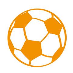 Handgezeichneter Fußball in orange