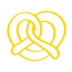 Handgezeichnete Brezel in gelb