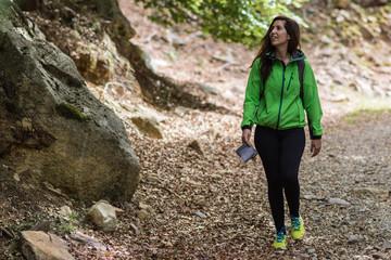 woman walking on the mountain