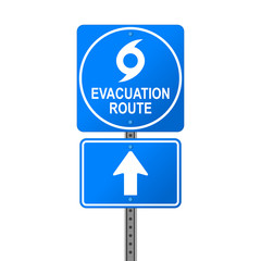 Hurricane Evacuation Route Emergency Sign