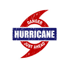 Hurricane Just Ahead Danger Warning Rubber Stamp