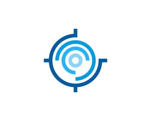 Digital Target Icon Logo Design Element